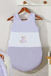 MAMO-TATO Śpiworek niemowlęcy haftowany Miś na chmurce w fiolecie