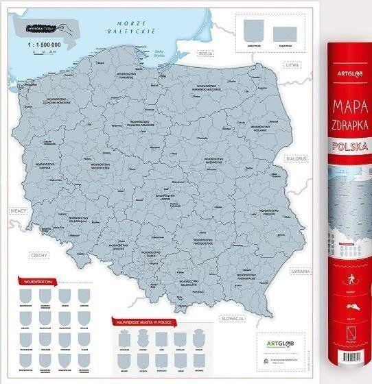 Mapa zdrapka - Polska 1:1 500 000 - praca zbiorowa