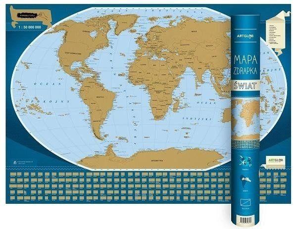Mapa zdrapka - Świat 1:50 000 000 - praca zbiorowa