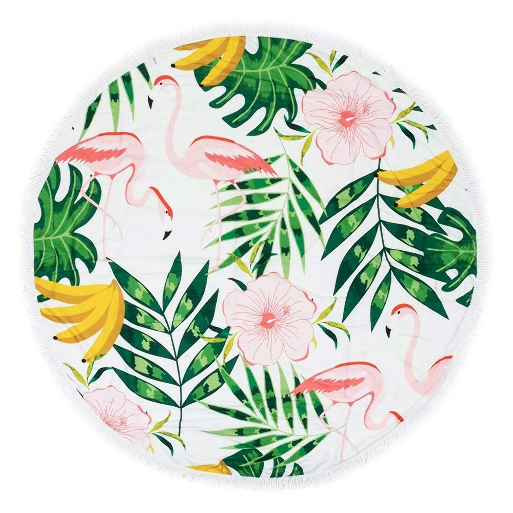 Ręcznik koc okrągły plażowy Boho 11 Flamingi liście 150 cm mikrofibra 250g/m2 palmy kwiaty banany