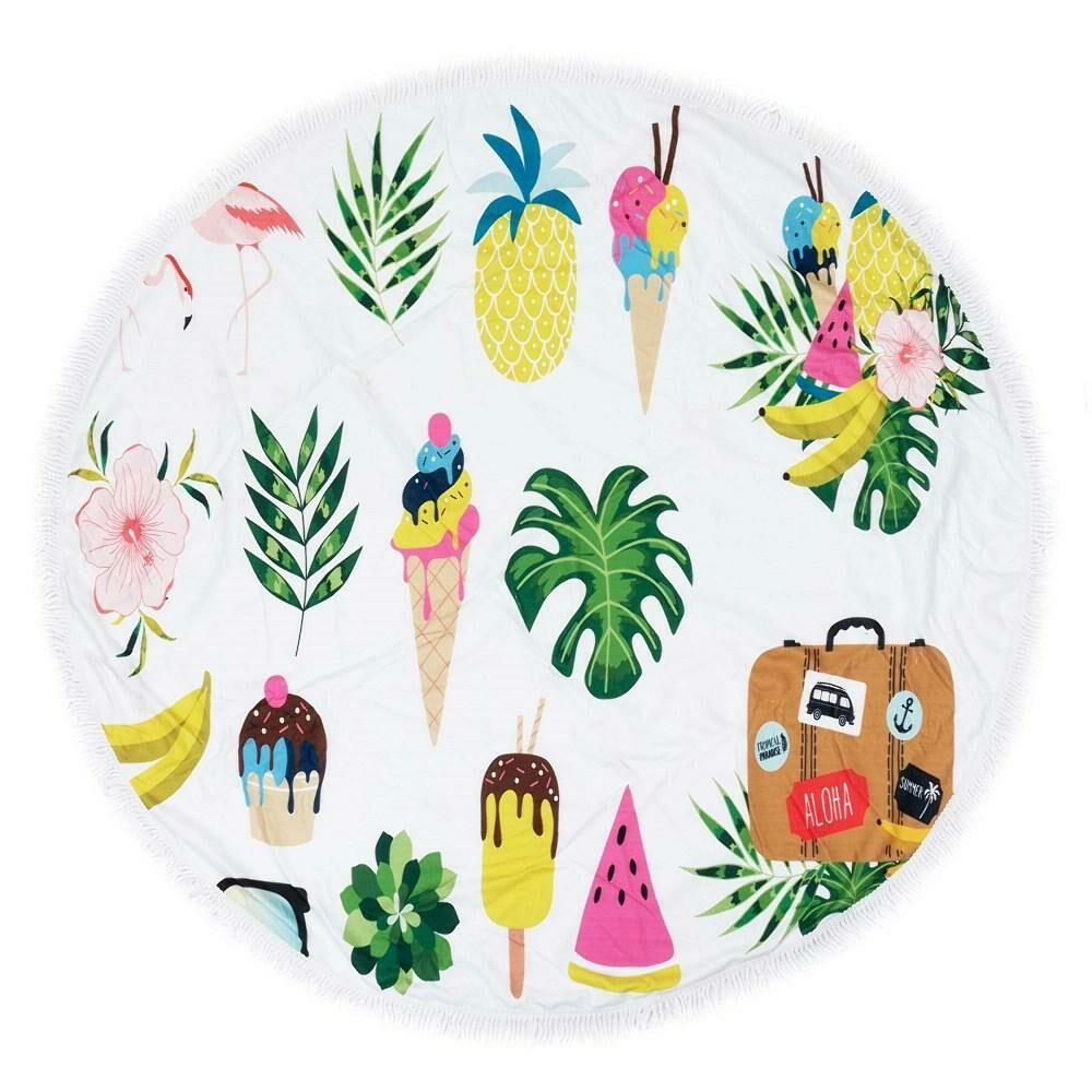 Ręcznik koc okrągły plażowy Boho 15 Letni piknik 150 cm mikrofibra 250g/m2 liście monstery palmy lody kwiaty walizka