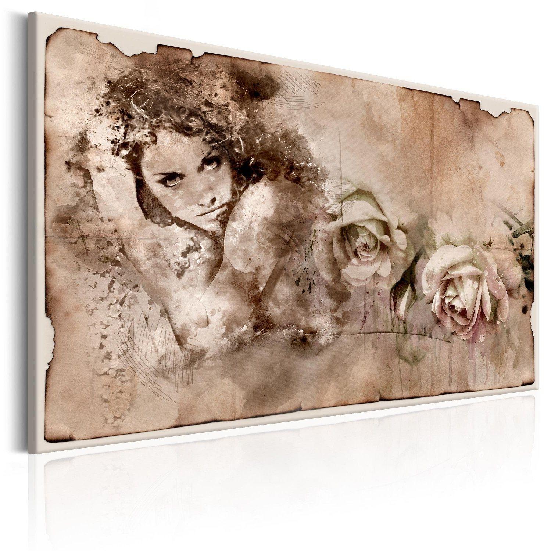 Obraz - styl retro: kobieta i róże