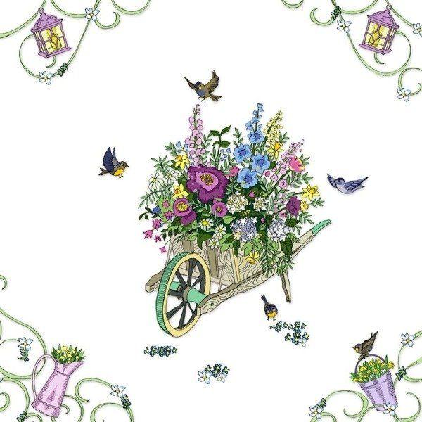 Karnet Swarovski kwadrat CL2712 Taczka z kwiatami - Clear Creations