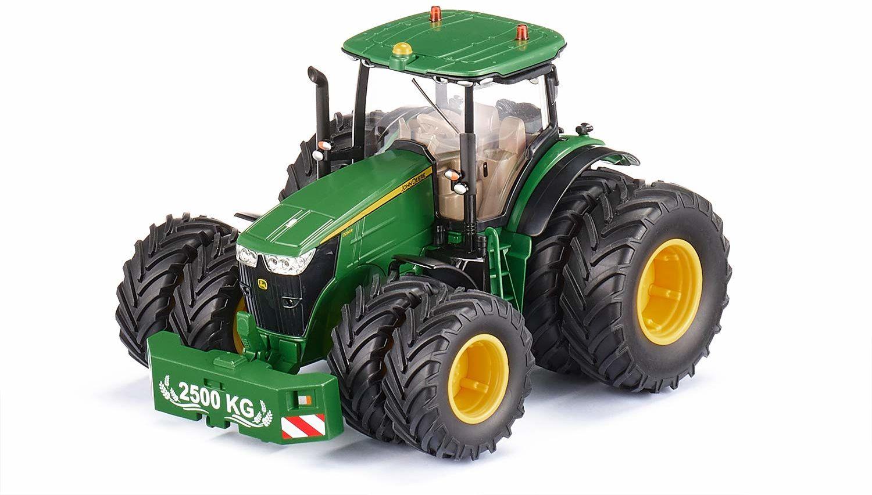 SIKU 6735, ciągnik John Deere 7290R, zielony, metal/plastik, 1:32, zdalnie sterowany, sterowanie za pomocą aplikacji przez Bluetooth, zdejmowane podwójne opony, bez modułu zdalnego sterowania