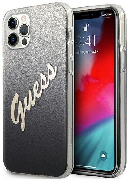 "Guess GUHCP12LPCUGLSBK iPhone 12 Pro Max 6,7"" czarny/black hardcase Glitter Gradient Script"