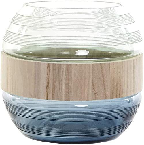 JV-174997 wazon ze szkła i drewna, granatowy, 25 x 25 x 22 cm
