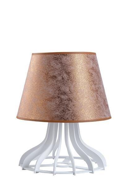 Drewniana lampa stołowa z abażurem LEA 946 biały/miedź śr. 30cm