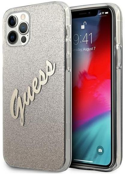 "Guess GUHCP12LPCUGLSGO iPhone 12 Pro Max 6,7"" złoty/gold hardcase Glitter Gradient Script"