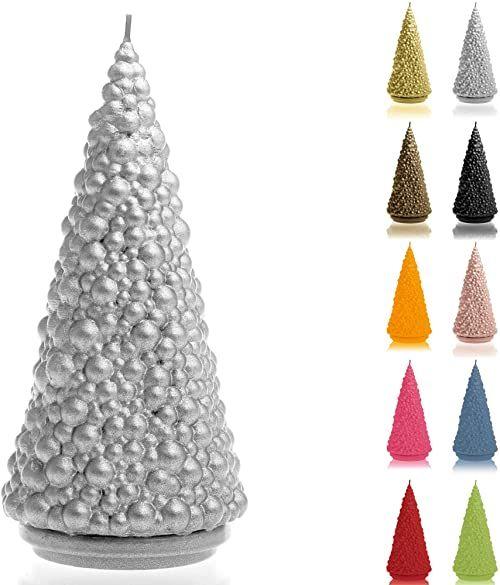 Candellana Świeca choinka wysokość: 20 cm srebrna czas palenia 35 h Boże Narodzenie wykonana ręcznie w UE
