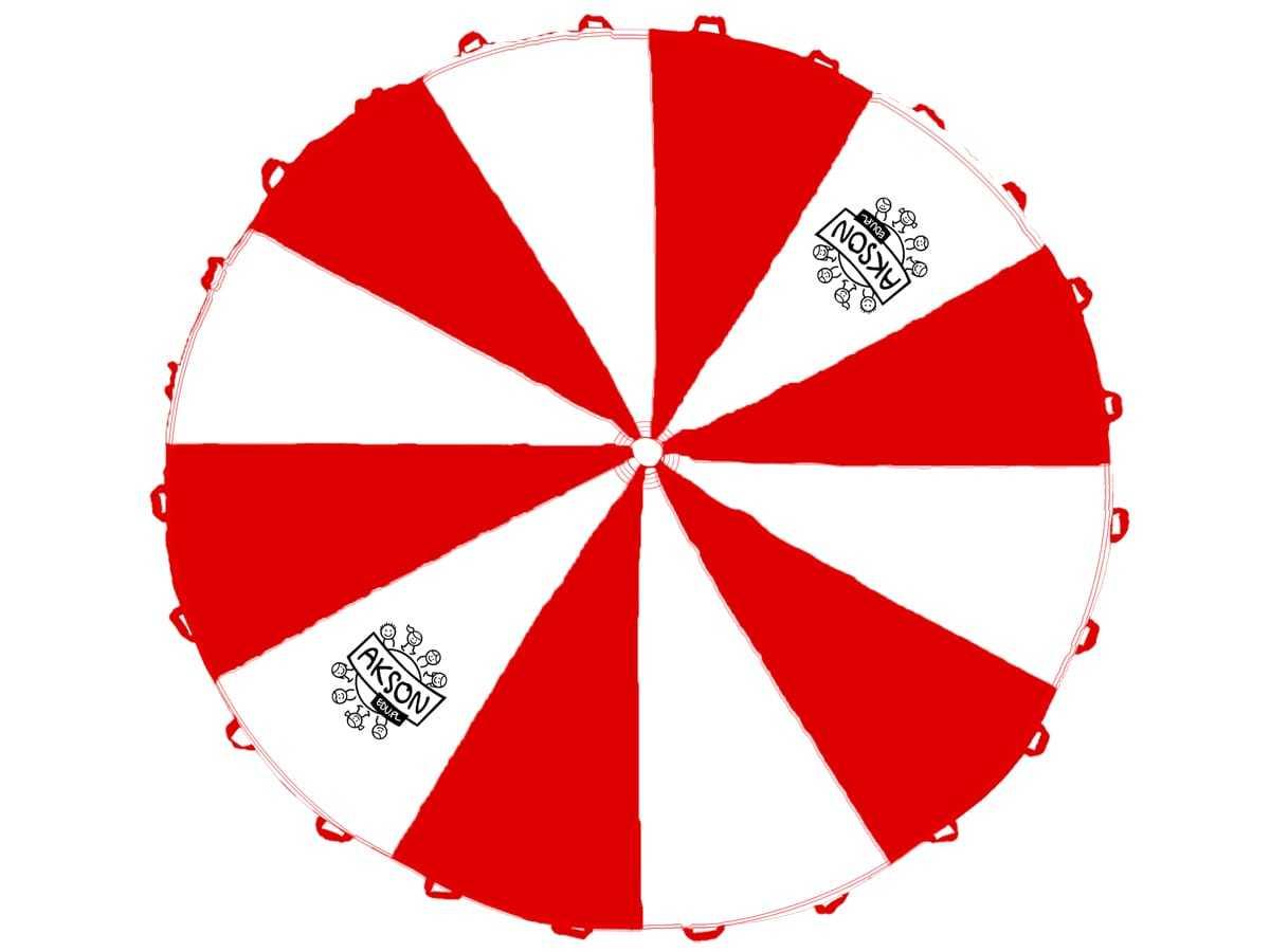 Chusta animacyjna biało-czerwona - 3 m - 1 szt.