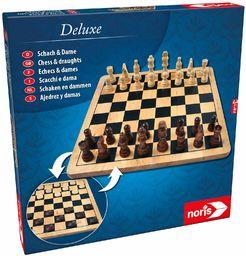 Noris 606104577 Deluxe Schachy i Dame, Klasyk w wysokiej jakości wykonaniu z drewna z drewnianymi figurkami i deską, od 6 lat