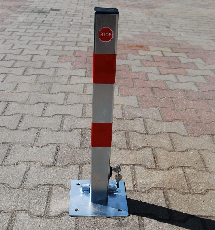 Blokada słupek zapora parkingowa I składana na klucz dolny ocynk