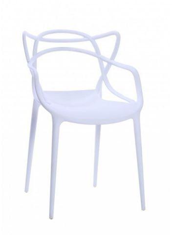 Krzesło TOBY białe z tworzywa z oryginalnym oparciem  KUP TERAZ - OTRZYMAJ RABAT