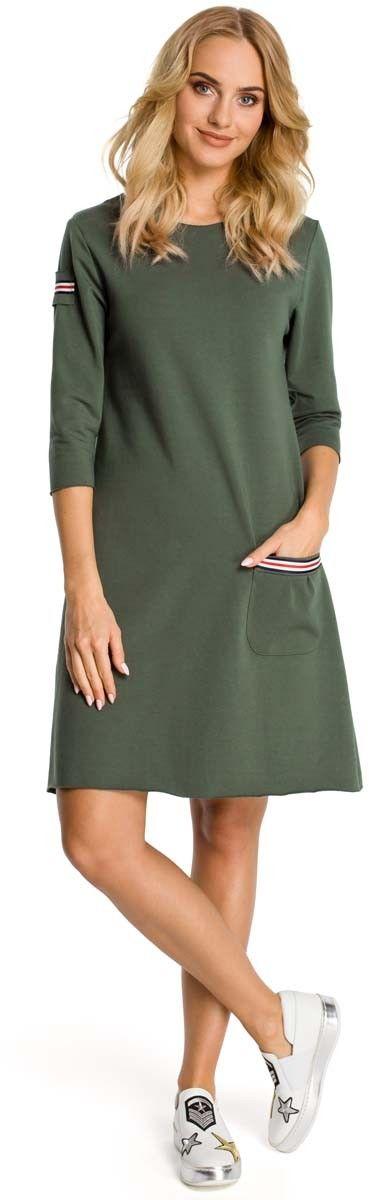 Khaki sukienka trapezowa dzianinowa z ozdobnymi tasiemkami