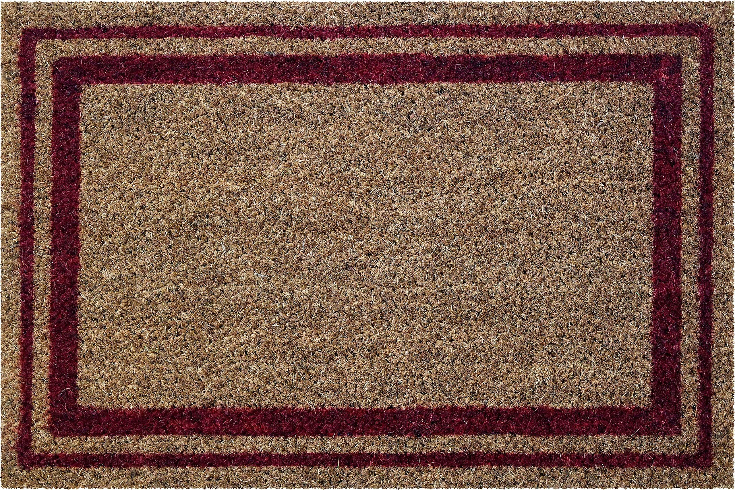 ID Mat 406004 Bordures wycieraczka z włókna kokosowego kolor naturalny/PCW/czerwony, 60 x 40 x 1,5 cm