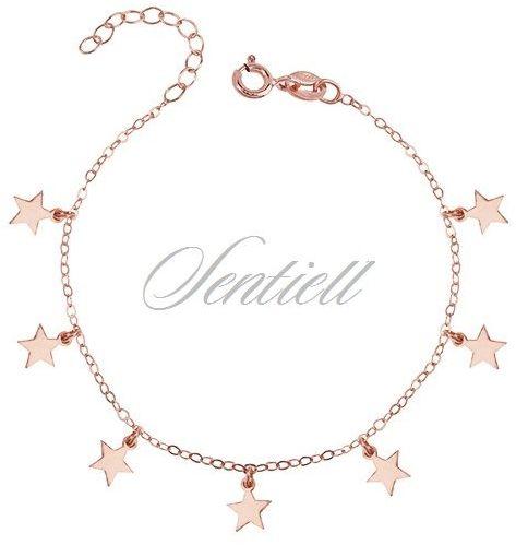Bransoletka pr. 925 gwiazdki, różowe złoto - różowe złoto