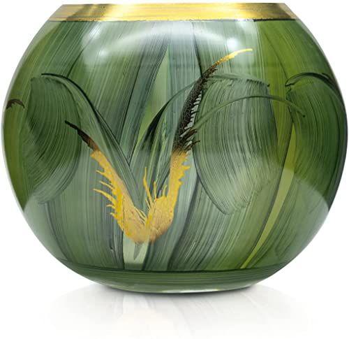 Angela Neue Wiener Werkstätte Wazon kulisty szmaragd szklany wazon ręcznie malowany, pozłacany, szkło, zielony, 14 cm