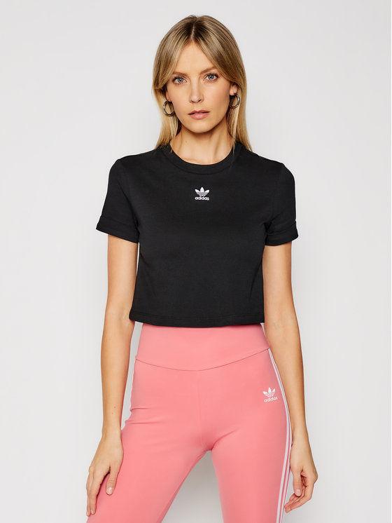 T-Shirt Crop Top GN2802 Czarny Regular Fit