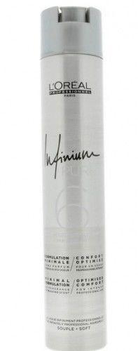 Loreal Infinium Pure Souple Soft bezzapachowy średnio mocny lakier do włosów 500 ml
