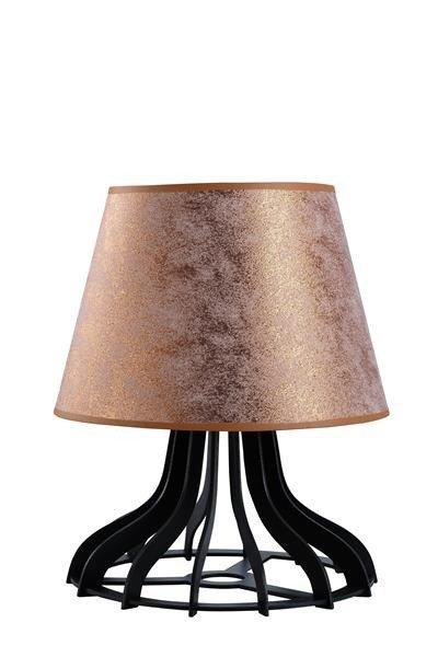 Drewniana lampa stołowa z abażurem IVO 950 czarny/miedź śr. 30cm