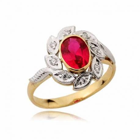 Piękny pieścionek z czerwonym rubinem
