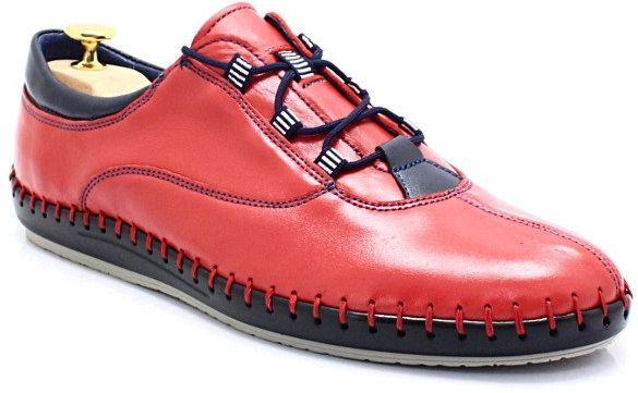 KENT 312 CZERWONE - Miękkie buty ręcznie szyte - Czerwony