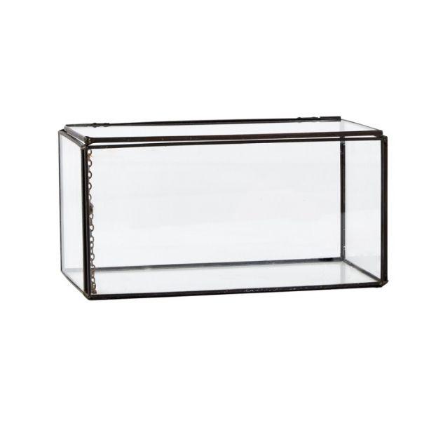 Villa Collection BOX Szkatułka - Szklany Pojemnik do Przechowywania 20x10 cm Czarny