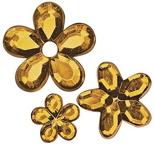Rayher 1522734 akrylowe kwiaty strassu, kolor pomarańczowy, trzy rozmiary 5, 8, 10 mm ø, torebka 310 sztuk, kamienie stras, kamienie ozdobne do naklejenia, błyszczące kamienie