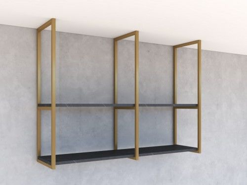 Nowoczesne loftowe regały wiszące, półki NEXTB2 Złoty mat