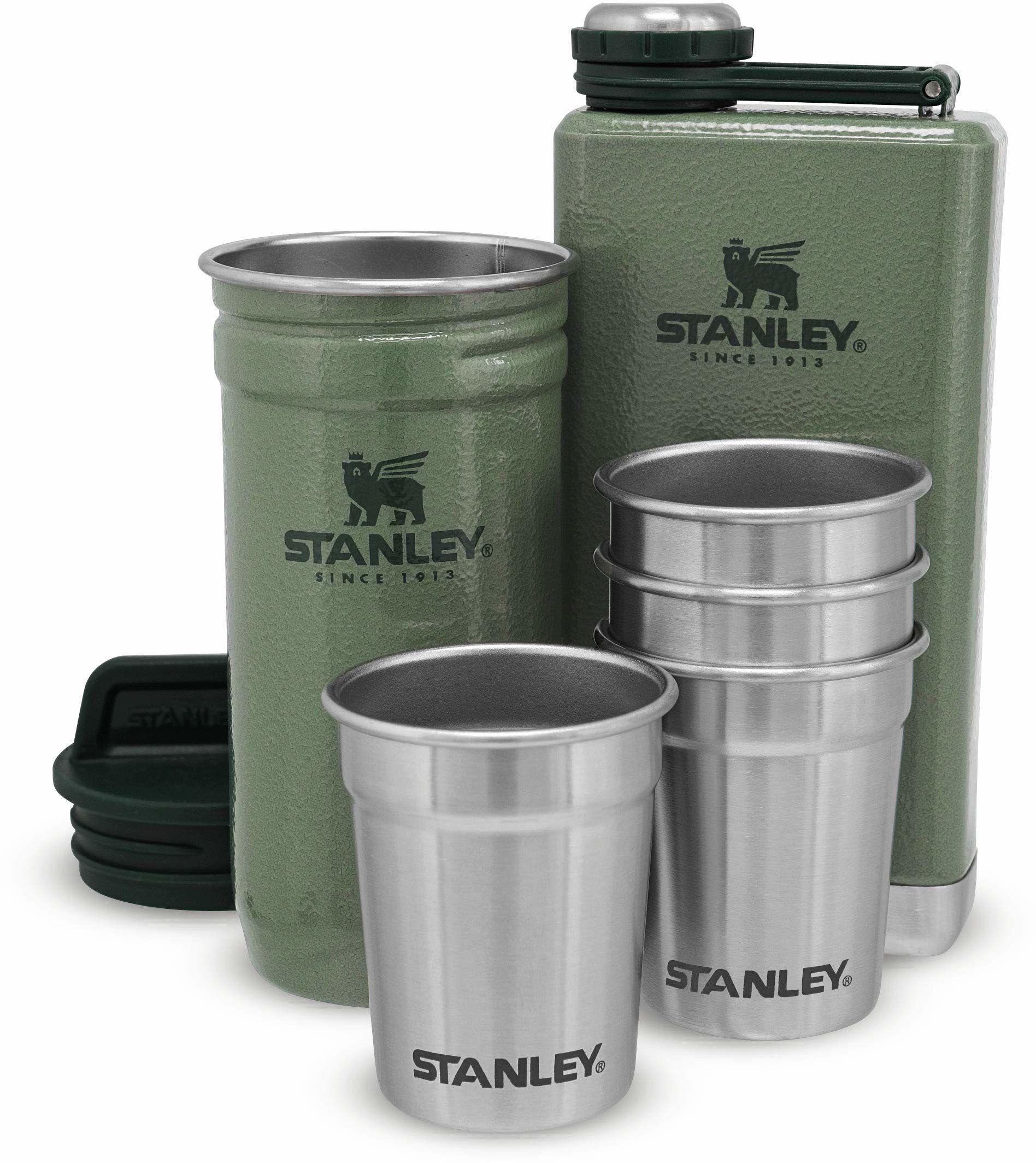 Stanley Adventure Pre-Party Shot Glass + Flask Set Hammertone Green  Stal nierdzewna bez BPA - Piersiówka ze Stali Nierdzewnej - Zestaw podarunkowy - Do Mycia w Zmywarce - Dożywotnia gwarancja