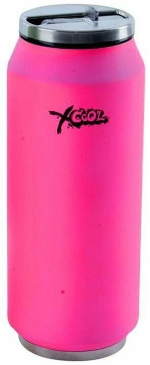 Kubek termiczny, termos, bidon, puszka, neonowa, różowy, 0,4 l