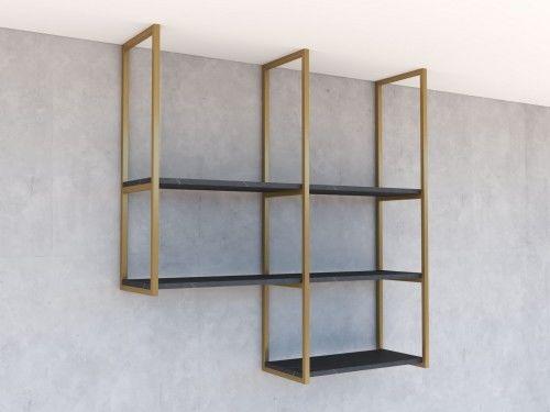 Nowoczesne loftowe regały wiszące, półki NEXTB23 Złoty mat