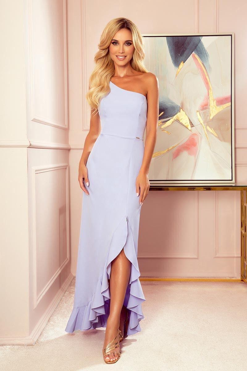 Długa sukienka na jedno ramię z falbankami - wrzosowa