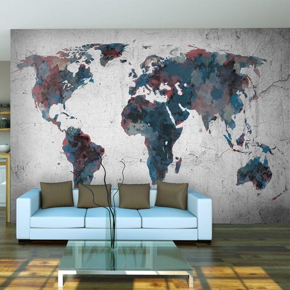 Fototapeta - world map on the wall
