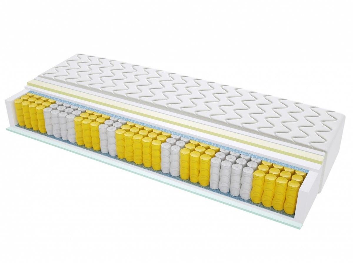 Materac kieszeniowy LEON MAX PLUS 80x185 cm Miękki / Średnio Twardy 2x Visco Memory Lateks