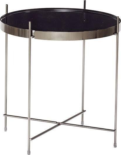 Stolik kawowy hübsch metalowy z czarnym szklanym blatem