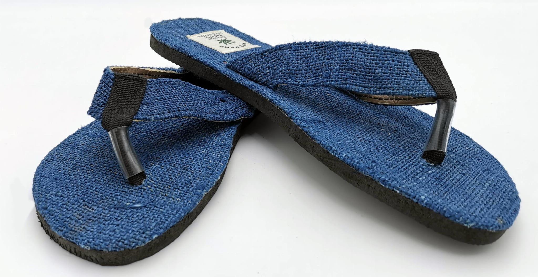 Klapki z konopi Flip Flop niebieskie