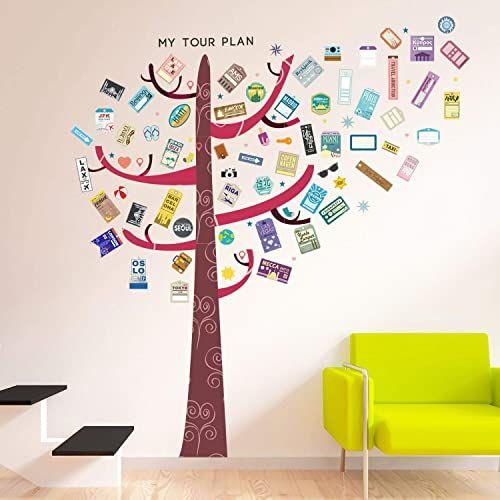 """Walplus """"kolorowe drzewo haczyk etykiety bagażowe"""" dom restauracja dekoracja DIY salon sypialnia usuwalne samoprzylepne naklejki ścienne artystyczne naklejki wystrój biura, czerwony, 160 x 180 cm"""