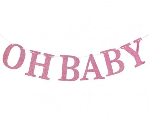 Girlanda brokatowa Oh Baby, jasnoróżowa, DIY