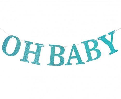 Girlanda brokatowa Oh Baby, jasnoniebieska, DIY