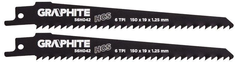Brzeszczot do piły szablastej HCS 150x19x1,25mm 6TPI kpl. 2szt. 56H042