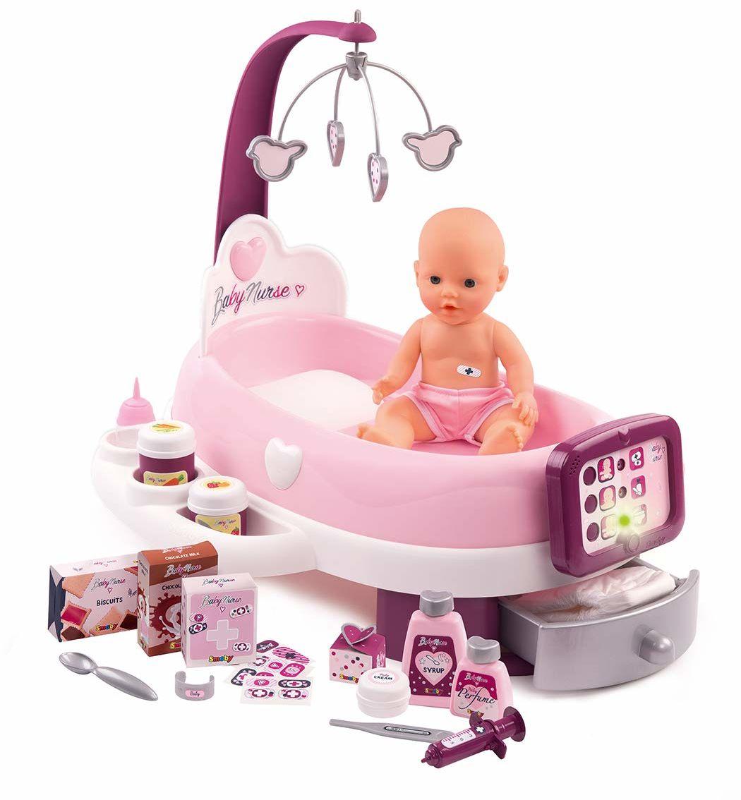 Smoby 220347 Elektroniczny pokój dziecięcy z 1 lalką z 24 akcesoriami różowy