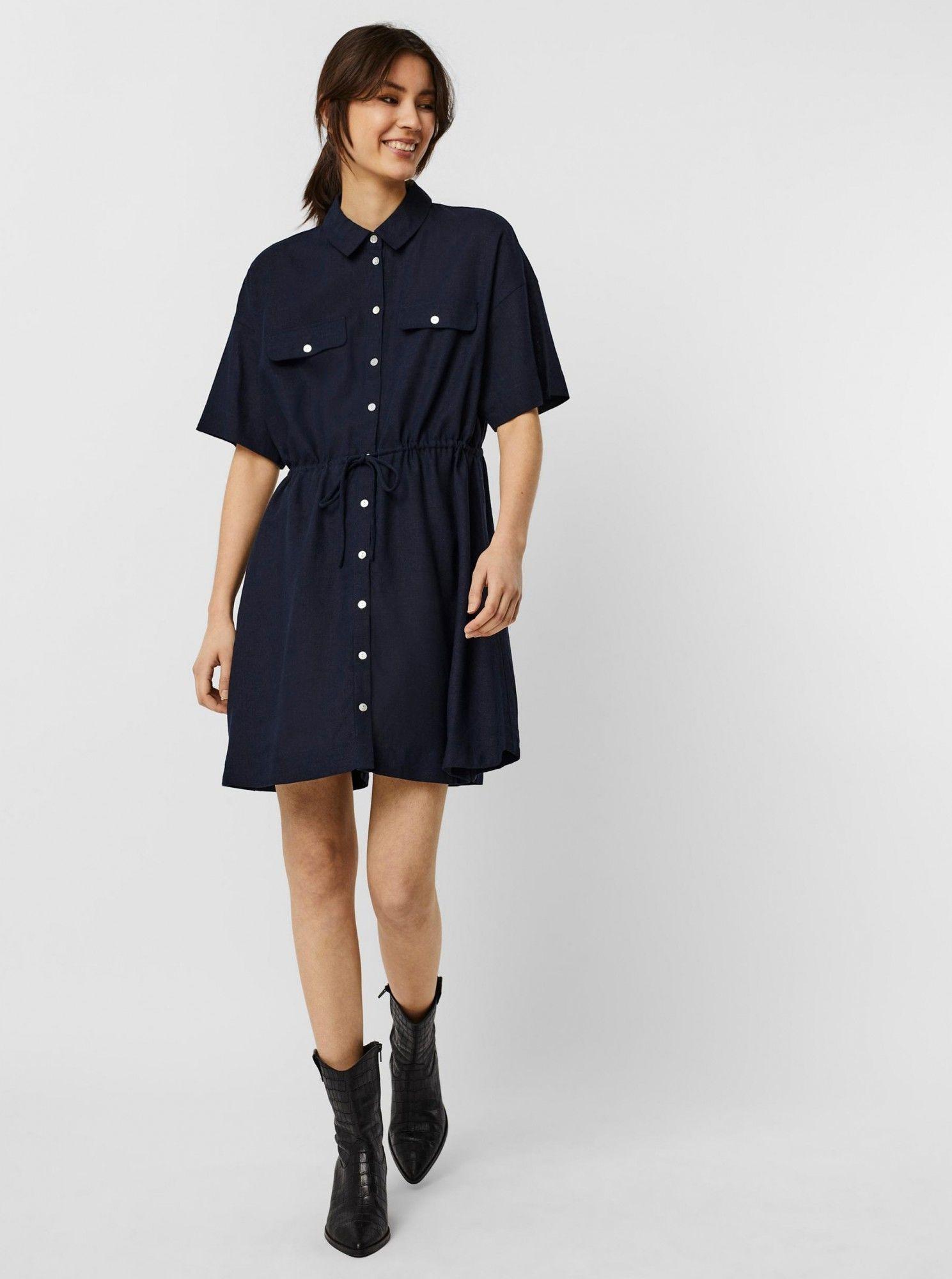 Vero Moda niebieski koszulowa sukienka Haf