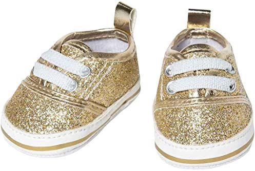 Heless 1461 błyszczące sneakersy dla lalek, w kolorze złotym, rozmiar 30-34 cm, eleganckie buty z efektem wow na specjalne okazje