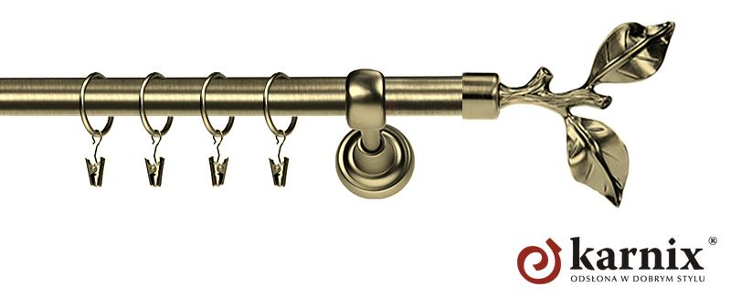 Karnisz Metalowy Rzymski pojedynczy 16mm Gałązka antyk mosiądz