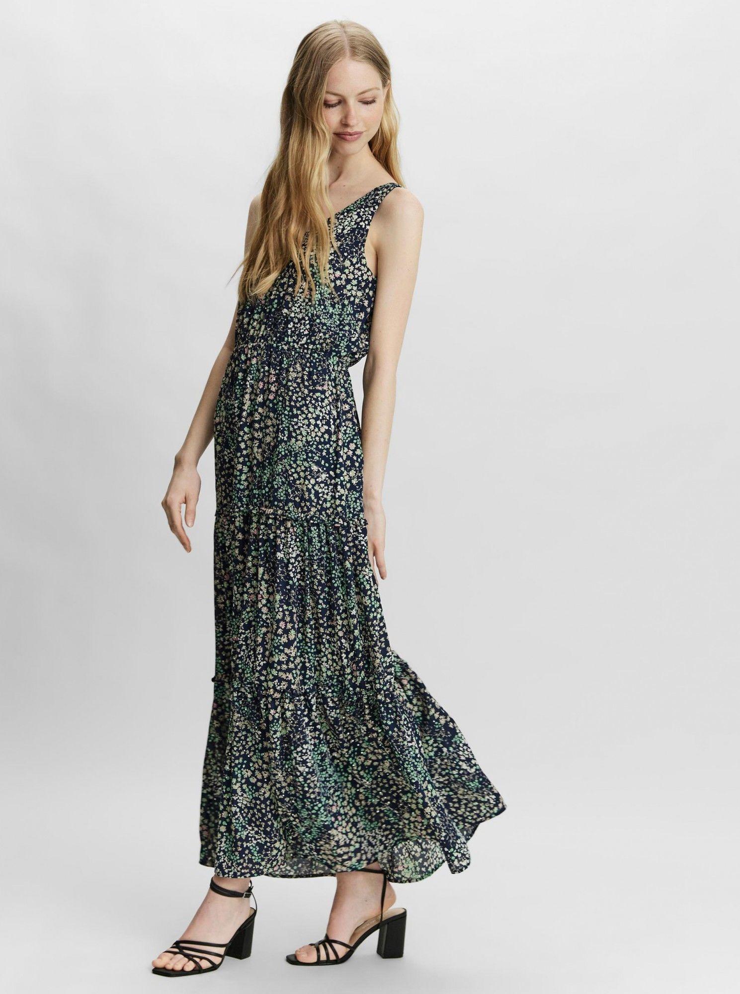 Vero Moda niebieski kwiecista maxi sukienka Hannah