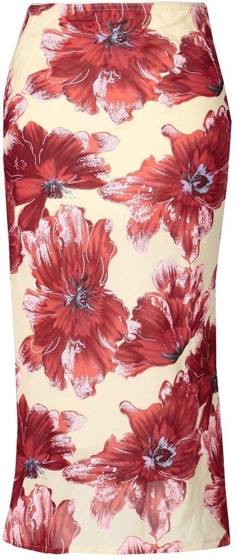 Spódnica FSP771 BEŻOWY + CZERWONY kwiaty - Spódnica FSP771 BEŻOWY + CZERWONY kwiaty