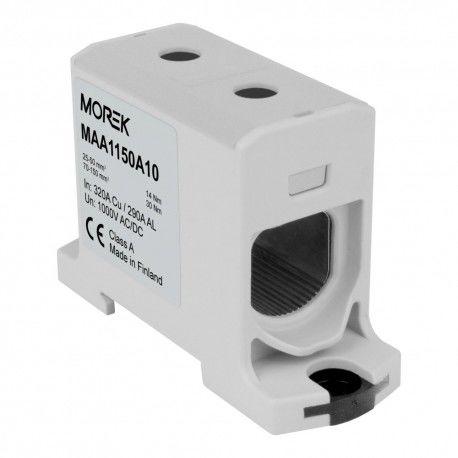 Złączka szynowa 25-150mm2 2otw AL/CU TH35 szara 1P OTL 150 MAA1150A10 Morek 7103