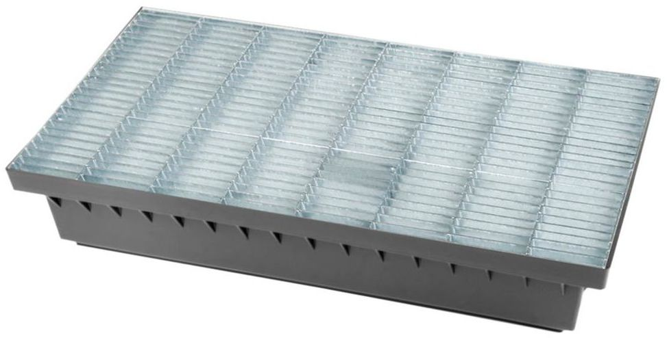Wycieraczka zewnętrzna wpuszczana stal ocynkowana 60x60 cm z podstawą 40 cm