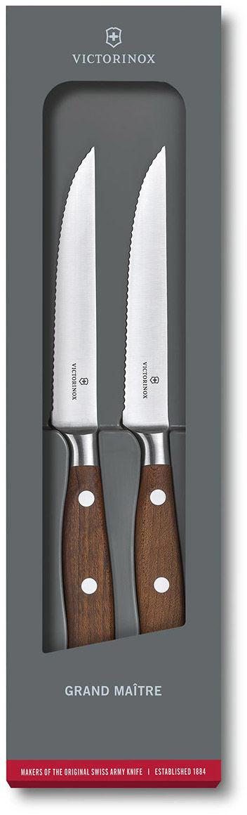 Zestaw dwóch noży kuchennych Victorinox Grand Maitre Wood - nóż do steków 12 cm (7.7240.2W)